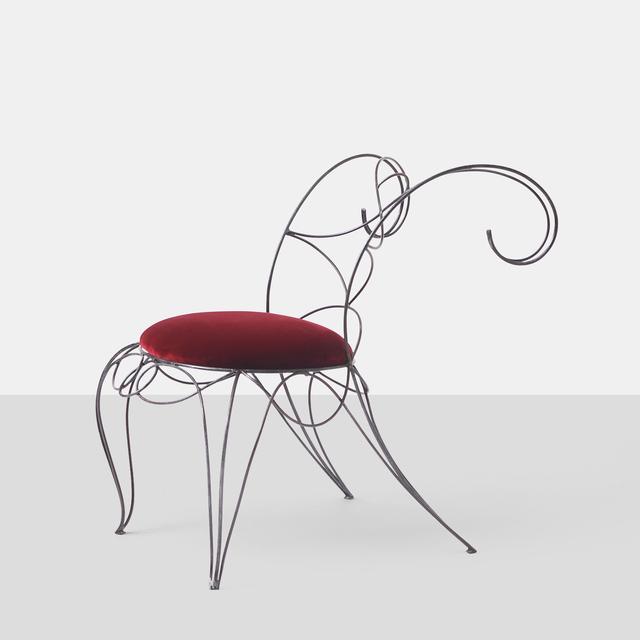 André Dubreuil, 'Andre Dubreuil Ram Side Chair', 1980-1989, Design/Decorative Art, Steel, Velvet, Almond & Co.