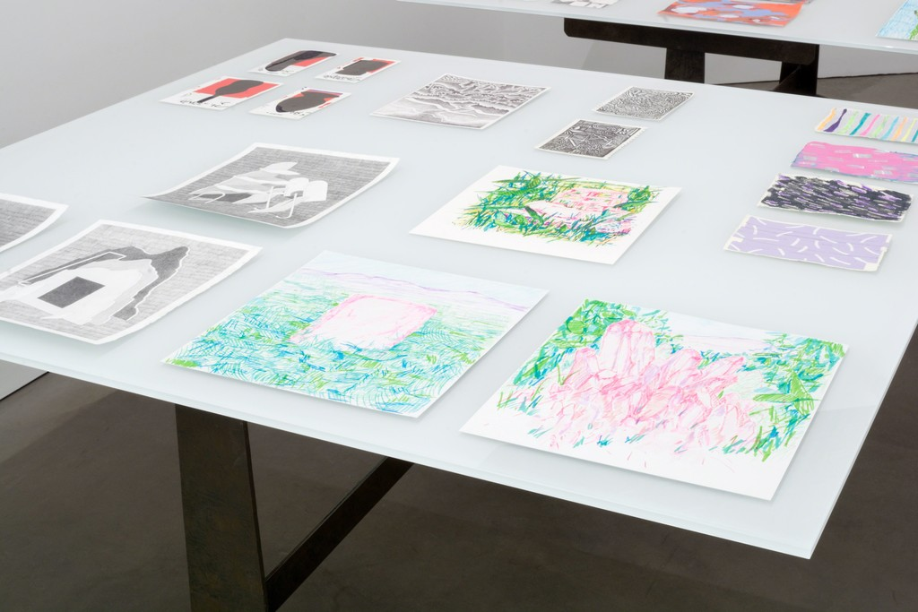 Works by various artists including Anna Ortiz and Kat Chamberlin in THE DRAWING IS THE MOVABLE FEAST at PROTO GOMEZ.