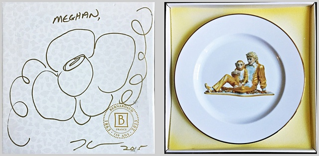 Jeff Koons, 'Original (unique) hand signed flower drawing on presentation box with Limited Edition porcelain plate inside: Banality Series (Service Plate), Michael Jackson and Bubbles)', 2014, Alpha 137 Gallery