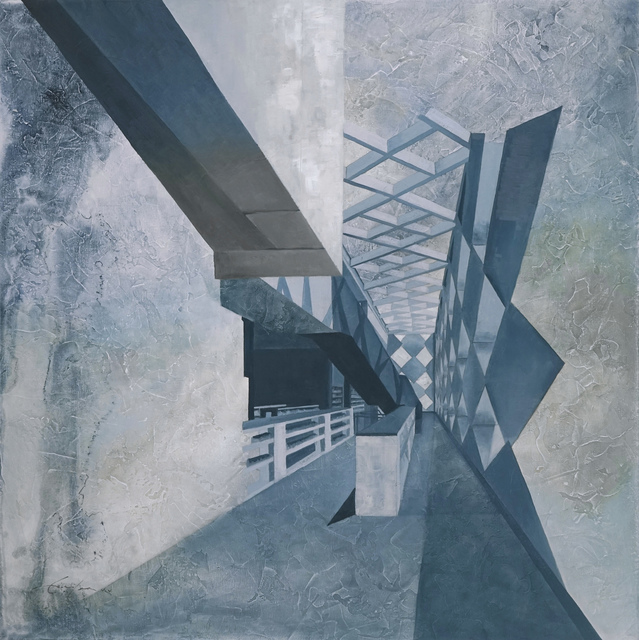 Cecilia Villanueva, 'David Adjaye Void, Architecture blue, white and brown, perspective, cityscape, postmodern realism, conceptual art, design blueprint', 2017, Archway Gallery