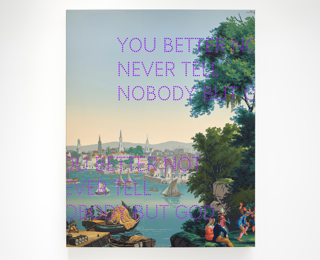 Nathan Coley, 'You Better Not', 2019, Sculpture, Handprinted Zuber wallpaper, aluminium lightbox with LED lights, Parafin