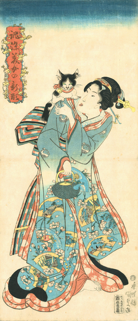 , 'Cat and Beauty from the series Beauties in New Styles Dyed to Order,' 1818-1830, Japan Society