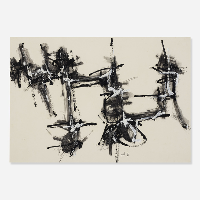 Achille Perilli, 'Untitled', 1957, Drawing, Collage or other Work on Paper, Ink, tempera and pencil on paper, Rago/Wright