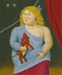 Circus woman with dog
