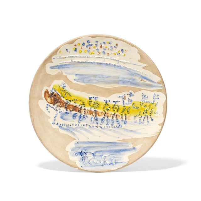Pablo Picasso, 'Paseo, from Service Scènes de Corrida', 1959, Sculpture, White earthenware clay plate, decorated in blue, brown, and yellow engobes under partial brushed glaze with beige patina., Masterworks Fine Art
