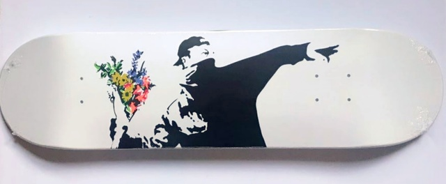 Banksy, 'Flower Bomber Skate Deck', 2018, Design/Decorative Art, Silkscreen on wood skateboard. Brand new in shrinkwrap., Alpha 137 Gallery Gallery Auction
