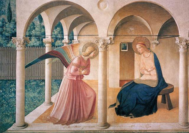 Fra Angelico, 'The Annunciation, north corridor, Monastery of San Marco', ca. 1438-45, Art History 101