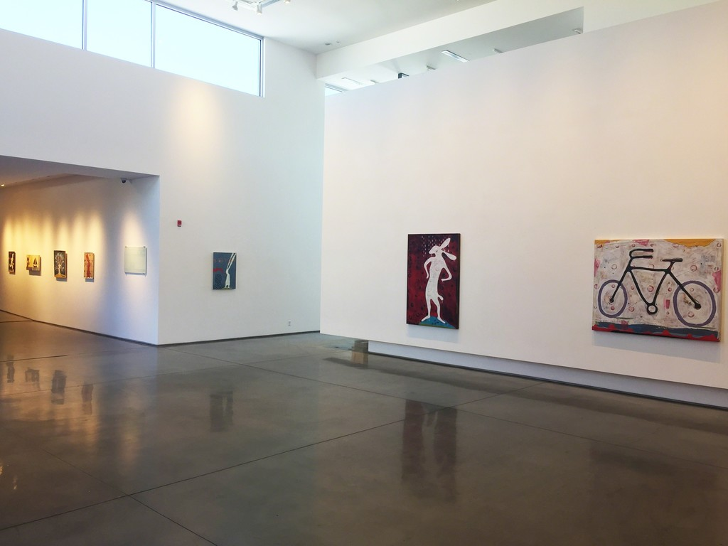 John Randall Nelson's paintings in the main and center galleries.