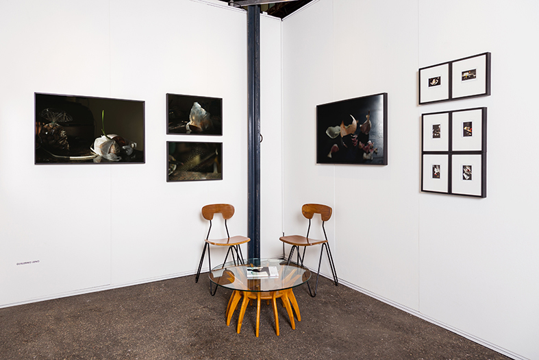"Booth View with works of Guillermo Ueno and Ignacio Iasparra, series ""Kitchens"", 2011-2016."