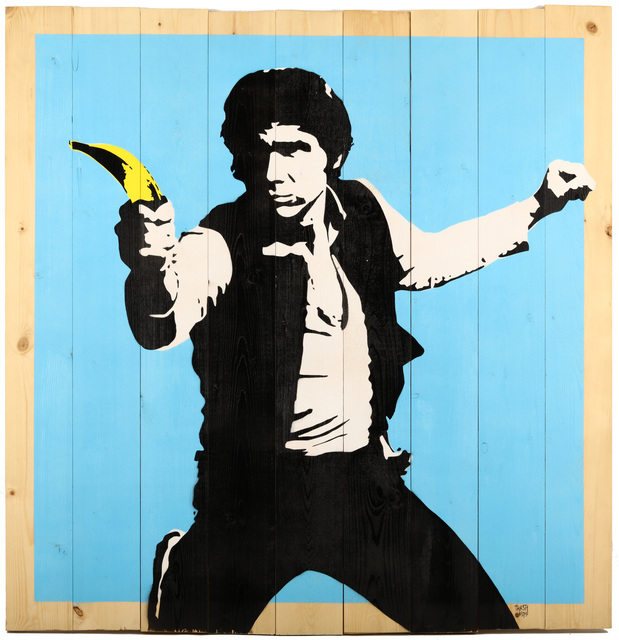 Thirsty Bstrd, 'Han Solo Banana Gun', 2017, Drawing, Collage or other Work on Paper, Spraypaint and stencil on wooden panels, Chiswick Auctions