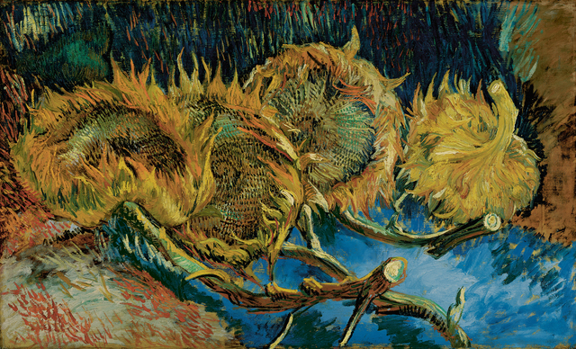 Vincent van Gogh, 'Four sunflowers gone to seed', August -October 1887, Painting, Oil on canvas, Kröller-Müller Museum