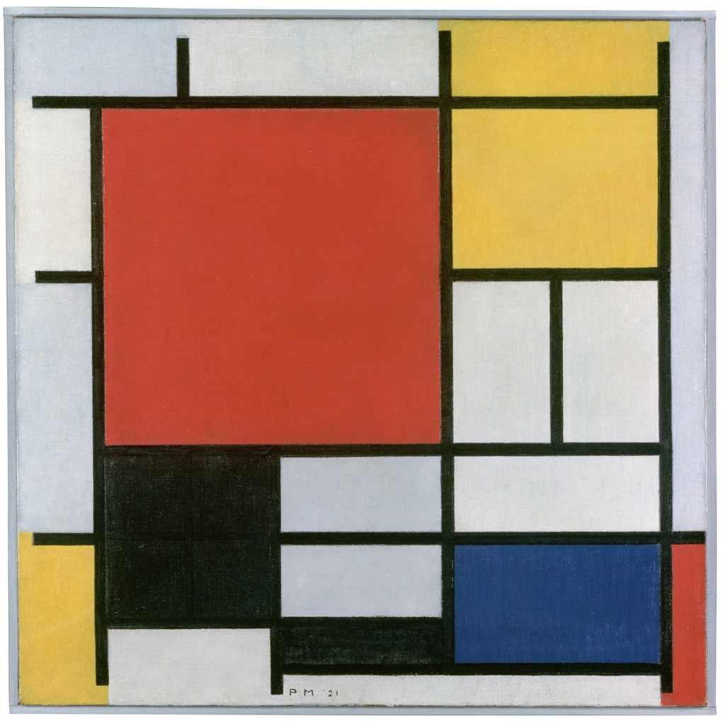 Image result for piet mondrian composition with red yellow and blue 1921