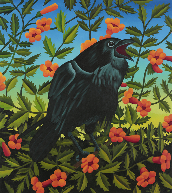 , 'Trumpet Vines with Crow- The Harbinger,' 2018, William Reaves | Sarah Foltz Fine Art