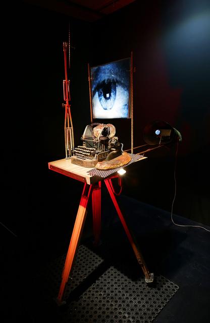 "Marco Guglielmi Reimmortal, '""DeComPUSter"" (ComPUSter n.01)', 2017, Installation, Mainly wood, metal, taxidermy +video, 11 [HH] Art Gallery"
