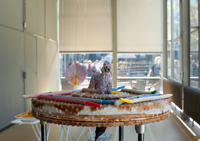 , 'Turning table, dog covered in toothpaste and silicone sticks,' 2018, Galerie Bart