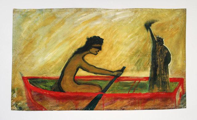 Lawrence Ferlinghetti, 'Liberty #2', 1993, Painting, Oil on canvas tarpaulin, Rena Bransten Gallery