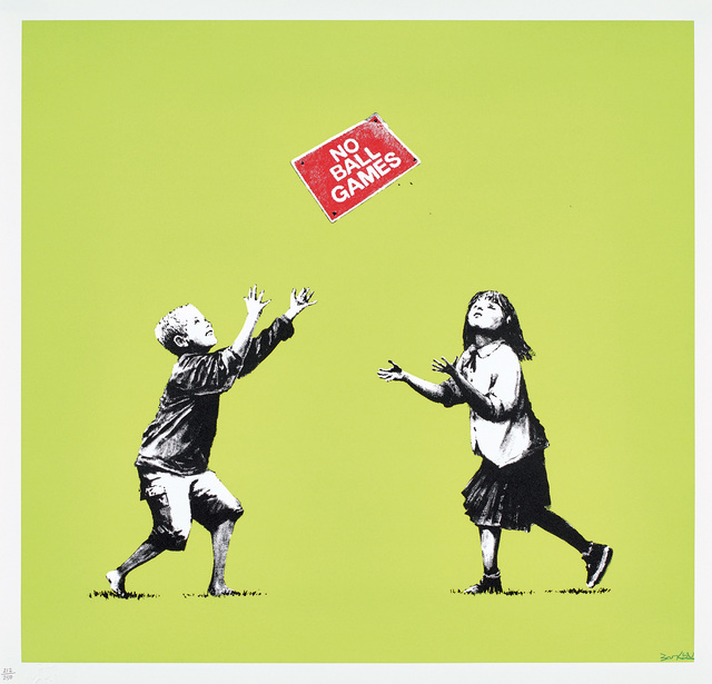 Banksy, 'No Ball Games (Green)', 2009, Print, Screenprint in colors, on wove paper, with full margins., Phillips