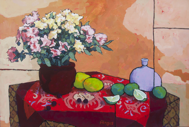 , 'Rhododendron and Fruit on Dragon/Fish Cloth,' 2018, Ventana Fine Art