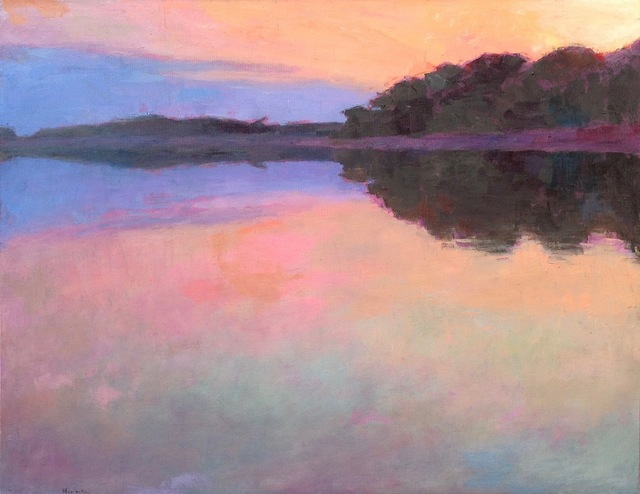 ", '""Sunset Reflections"" oil painting of purple and pink sunset reflected on water,' 2010-2017, Eisenhauer Gallery"