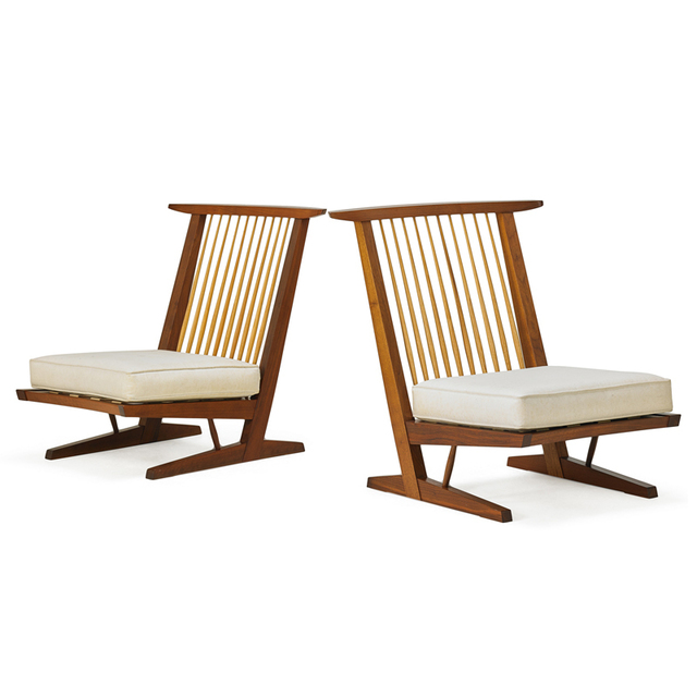 Mira Nakashima, 'Two Conoid Lounge Chairs, New Hope, PA', 1992/93, Rago/Wright
