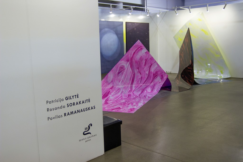 "Gallery's booth (No. 5.02) with artworks by young gallery's artists Rosanda Sorakaitė and Povilas Ramanauskas (Povilas Ramanauskas was awarded as the best young artist of the fair and gallery ""Meno parkas"" was selected as one of the best 7 galleries in the fair)."
