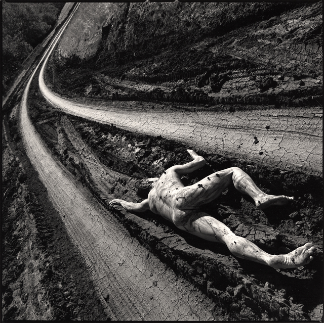 , 'Road Kill (a nude male is shown lying in a rutted road),' 1996, Stone + Press Gallery