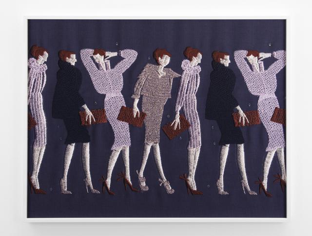 , 'Line of Women with Purses (violet, purple, brown) ,' 2019, VI, VII