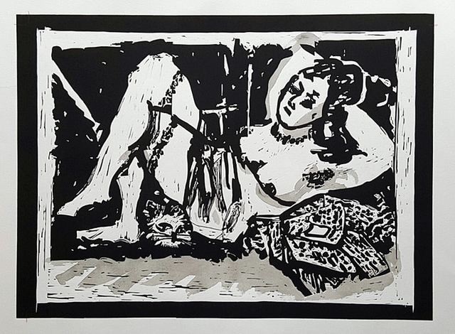William Kentridge, 'Reclining Figure with Cat', 2016, Gallery Neptune & Brown
