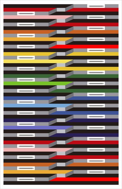 Juvenal Ravelo, 'Fragmentacion de la Luz y el Color II', 2018, Sculpture, Painted Iron, Mirror, MDF, Ai Bo Gallery