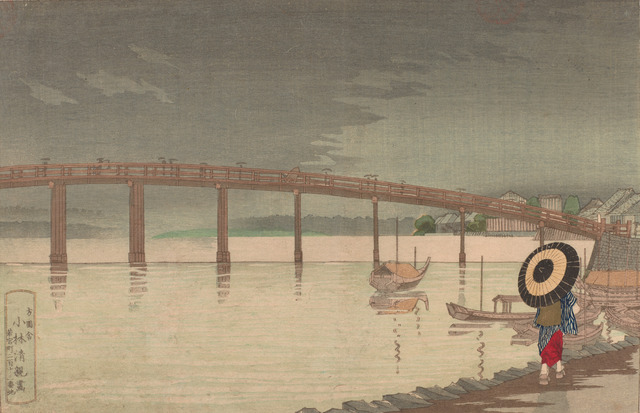 , 'View of Tokyo's Shin-Ohashi bridge in Rain,' Meiji era-1876, Smithsonian Freer and Sackler Galleries