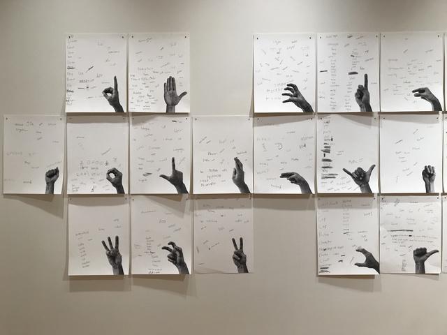 , ''Estudios de rimas por las formas de la mano', versión colaboración NBMAA y ASD,' 2017, Die Ecke Arte Contemporáneo