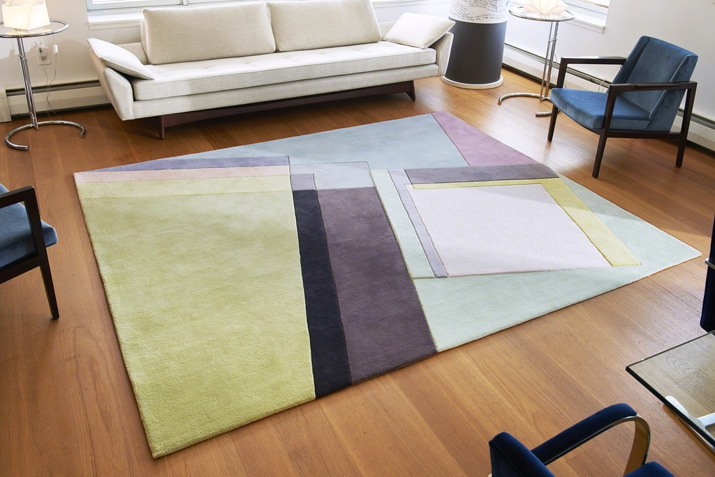 Decisive, the largest of the Art Rugs, was hand made in Thailand from all cut pile. Seligson was interested in how the three dimensionality of the painting, would translate into a rug. The rug has pencil carvings which add an additional, unexpected element to this vibrant piece. Decisive was featured in the Winter 2018 issue of Modern Magazine. 10mm and 16 mm pile height. Pencil carving. 16 colors.
