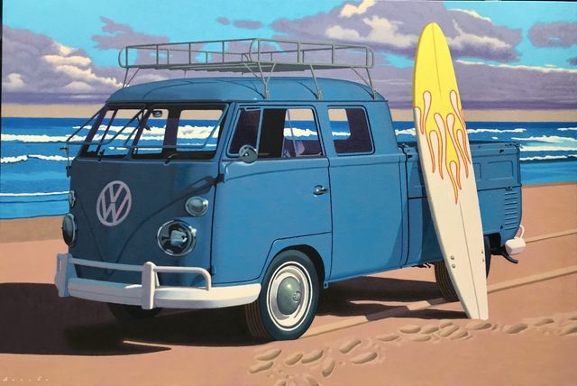 "Rob Brooks, '""Secret Spot"" Photorealistic oil painting of a blue vintage Volkswagen pickup truck on the beach with surfboard', 2019, Eisenhauer Gallery"