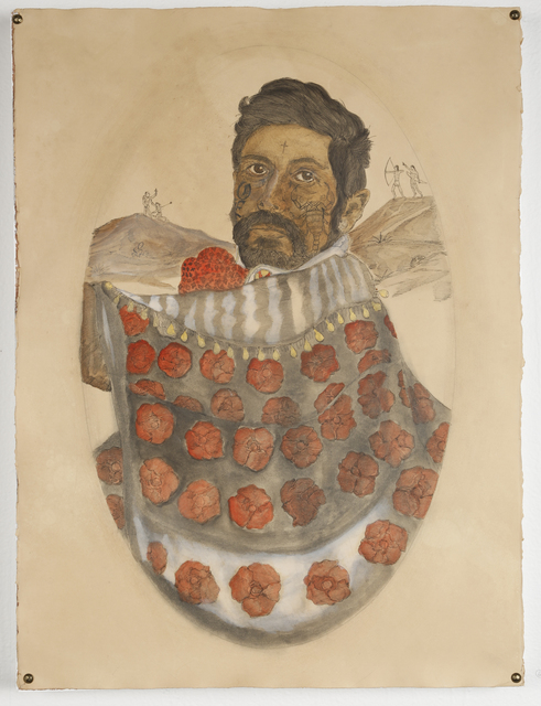 , 'A parade of roses under a big bright moon, tinted blood red wine. Odiseo, founder of the ultra religious Order of the Scorpion riding.,' 2016, New Image Art