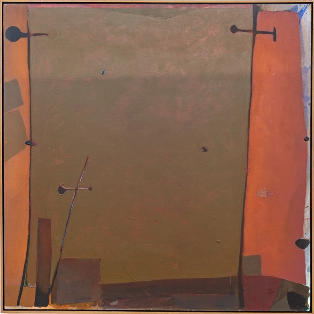 Otto Rogers, 'Orange Edge - Olive-green rectangle surrounded in oranges, and reds', 1979, Painting, Acrylic paint, canvas, Oeno Gallery