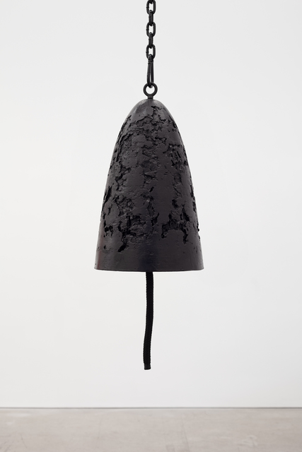 Davina Semo, 'Protector', 2019, Sculpture, Patinated cast bronze bell, whipped nylon line, wooden clapper, powder-coated chain, hardware, Jessica Silverman