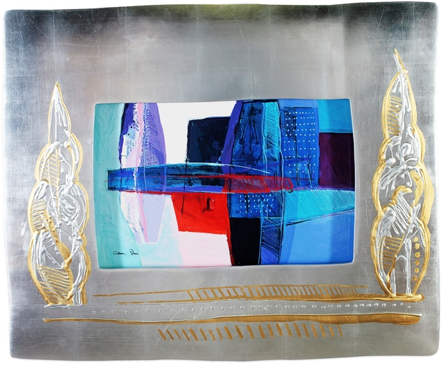 Calman Shemi, 'Blue Iceberg', Window, Painting, Window Lacquer Painting, Blue Gallery
