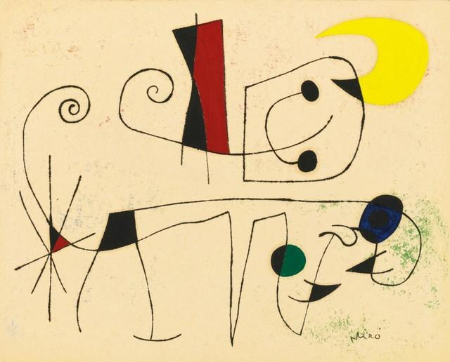 , 'Chien enragé par une nuit de lune hantée par les amours des oiseaux,' 1955, Galerie Thomas