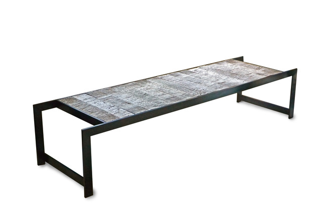 ", 'BIRCH TILE ""TRESTLE"" TABLE,' 2013, Gray Gallery"