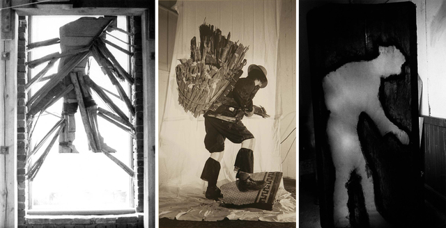 , 'WOODMAN TRIPTYCH (WINDOW INSTALLATION, PAINTED SILHOUETTE, STREET ACTION),' 1974, Greg Kucera Gallery