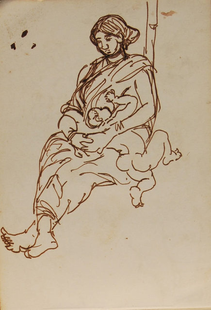 , 'Bonding of village women with her child, ink & watercolor by famous Bengal Artist Dipen Bose,' 1961-65, Gallery Kolkata