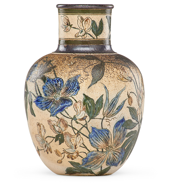 Martin Brothers, 'Bulbous vase with clematis', 1890, Rago