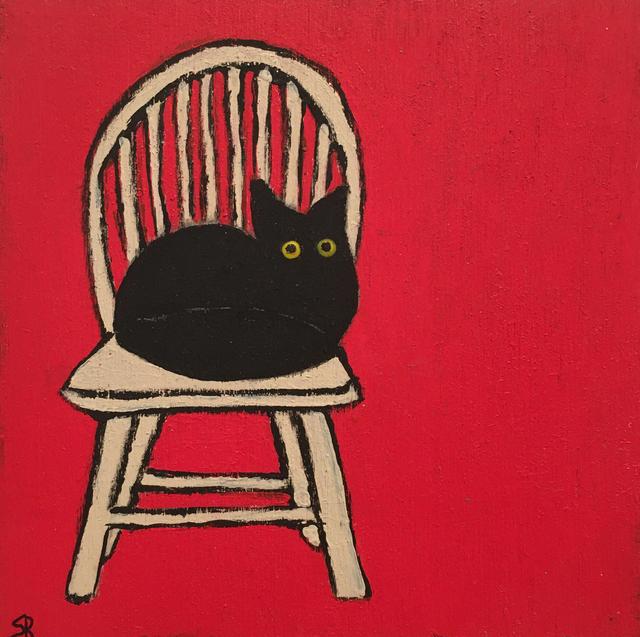 , 'Black Cat, White Chair,' 2020, BoxHeart