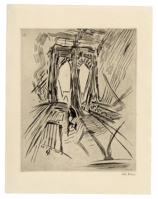 John Marin, 'Brooklyn Bridge No. 6 (Swaying)', 1913, Harris Schrank Fine Prints