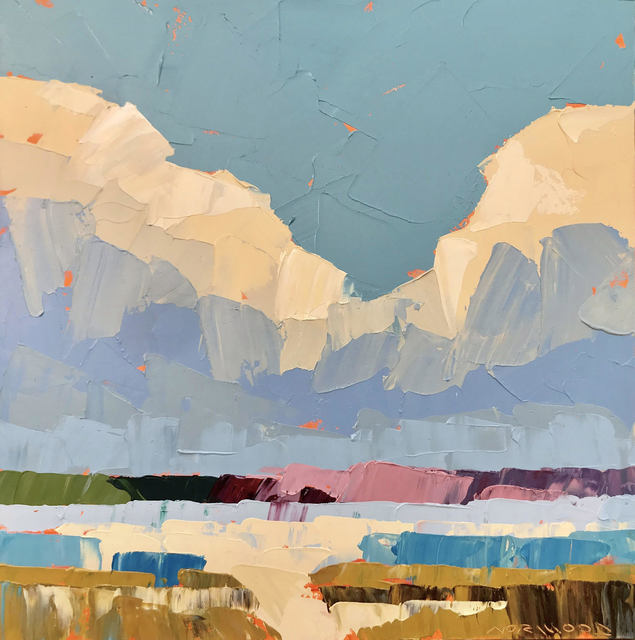 """Paul Norwood, '""""Midas Clouds"""" Impasto landscape painting of clouds over blue, green and pink land', 2019, Eisenhauer Gallery"""