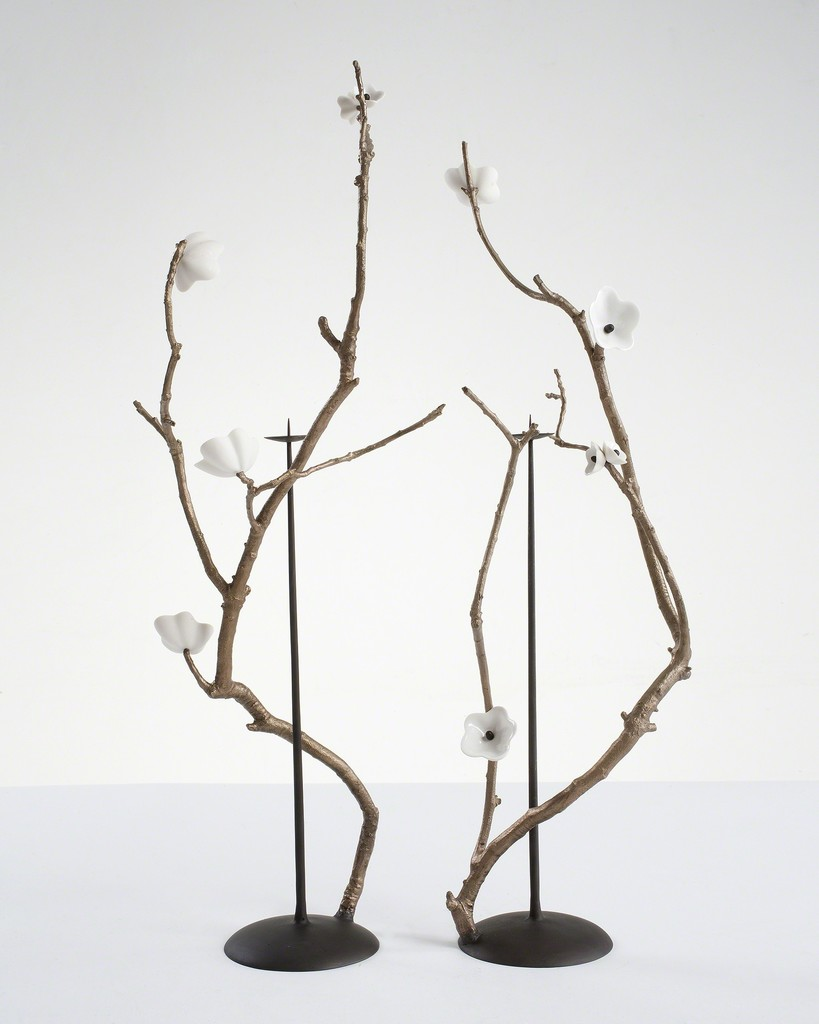 "Pair of ""Cherry Blossom Branch"" candlesticks"