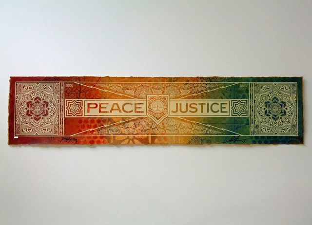 Shepard Fairey, 'Peace & Justice', 2013, Mixed Media, Hand Painted Multiple, Samuel Owen Gallery