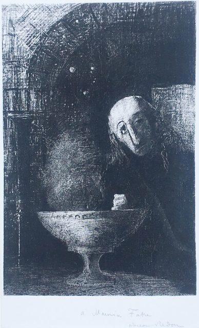 Odilon Redon, 'Et le chercheur était a la recherche infinie', 1886, Print, Lithograph on chine appliqué., Catherine E. Burns Fine Prints