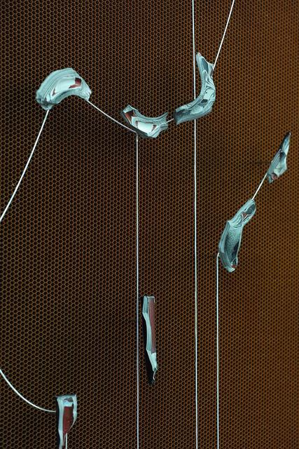 Cooper Jacoby, 'Sluice (Capital Bone)', 2016, Enamel paint, cpu connector pins, steel chain, honeycomb fiber core, epoxy resin, steel, Mathew