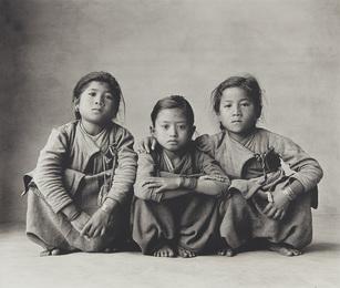 Three Squatting Sisters, Nepal, 1967